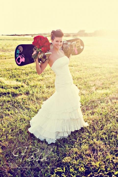 Diem Angie snowboarding brides