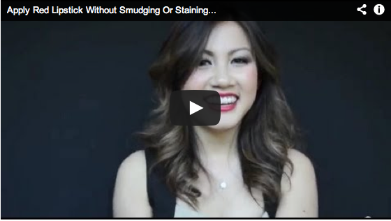 Apply Red Lipstick without smudging or staining your teeth